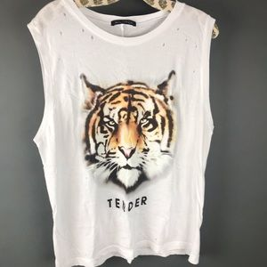 Wildfox White Tender tiger Tank Top Distressed